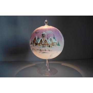 Vánoční koule na svíčku grafika 15cm růžová