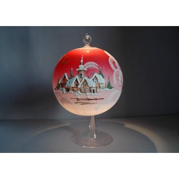 Vánoční koule na svíčku grafika 15cm červená + stojan