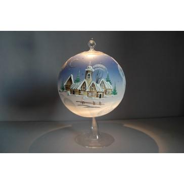 Vánoční koule na svíčku grafika 15cm modrá + stojan