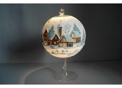 Vánoční koule na svíčku grafika 15cm bílá + stojan