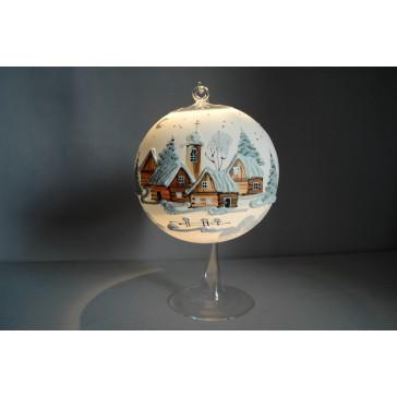 Vánoční koule na svíčku 15cm bílá + stojan www.sklenenevyrobky.cz