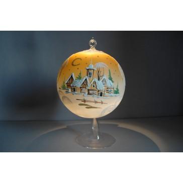 Vánoční koule na svíčku grafika 15cm oranžová + stojan