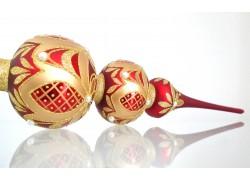 Vánoční špice bordó decor záclonky zdobená perličkami 44cm