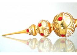 Vánoční špice zlatá s červenými kameny a reliéfováním 35cm