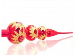 Vánoční špice - tři koule, v červeném lesku