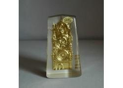 Skleněná plaketa Orloj zlatý 6x11x3 cm