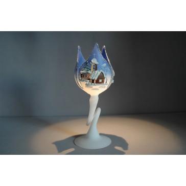 Vánoční svícen tulipán grafika 18cm modrá / stříbrná