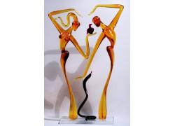 Adam a Eva s hadom L1 32 cm www.sklenenevyrobky.cz