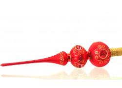 Vánoční špička 2 koule mat 543 červená