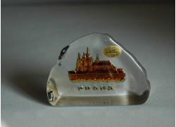 Plaketa Pražský Hrad ze skla 10x7,5x3 cm pokov marea