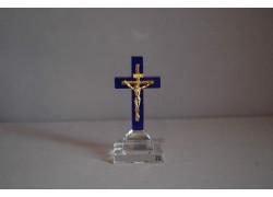 Skleněný křížek 8x4cm modrý