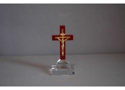 Skleněný křížek 8x4cm červený