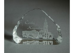 Plaketa Český Krumlov ze skla 8,5x6,5cm