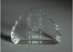 Skleněná plaketa Plzeň 8,5x6,5cm