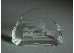 Plaketa Karlovy Vary ze skla 8,5x6,5cm