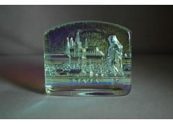 Plaketa Pražský hrad ze skla AB 11x10x3 cm