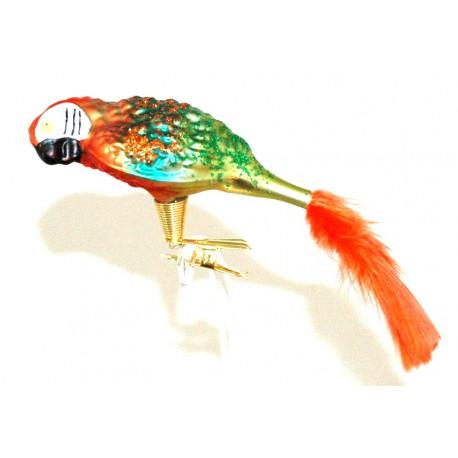 Vánoční ozdoba papoušek zeleno oranžový www.sklenenevyrobky.cz