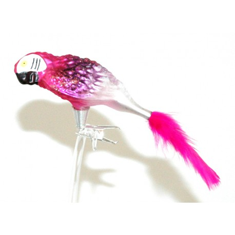 Vánoční ozdoba papoušek do růžova www.sklenenevyrobky.cz