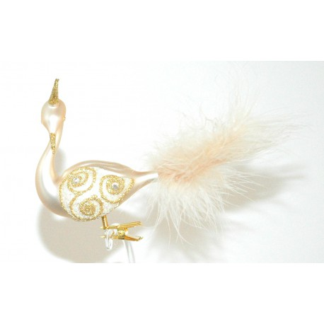 Vánoční ozdoba Labuť 3044 8x10x17cm perleť zlatá korunka