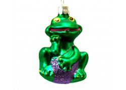 Christmas ornament frog in purple swimsuit 270