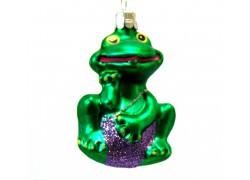 Vianočná ozdoba žaba vo fialových plavkách