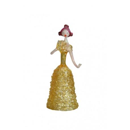 Skleněná rokoková dáma 13cm s vějířem žlutá