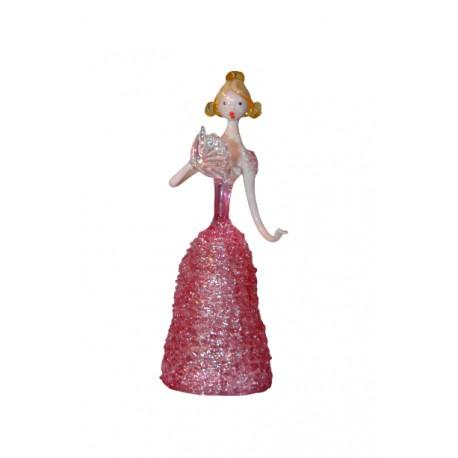Skleněná rokoková dáma 13 cm červené šaty a vějíř