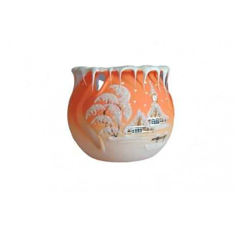 Vánoční kalíšek na svíčku 10cm řezaný oranžový