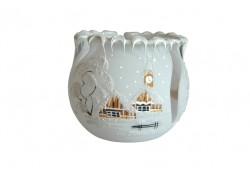 Vianočný svietnik na čajovú sviečku, biely 10cm