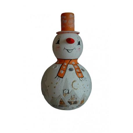 Sněhulák na svíčku 18cm oranžový