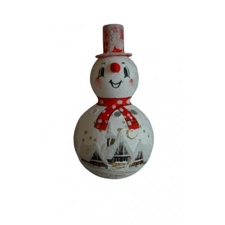 Sněhulák na svíčku 18cm červený