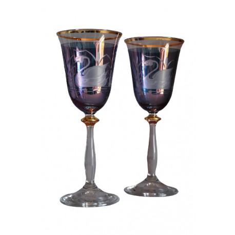 Poháre na víno, 2 ks, dekor labuť, 250ml, v modrej www.sklenenevyrobky.cz