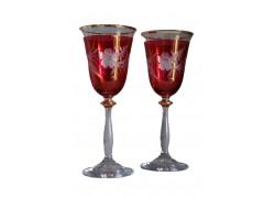 Wine glass, 2 pcs, decor flower, 250ml, red www.sklenenevyrobky.cz
