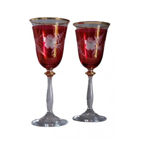 Sklenice na víno, 2 ks, dekor kytka, 250ml, v červené www.sklenenevyrobky.cz