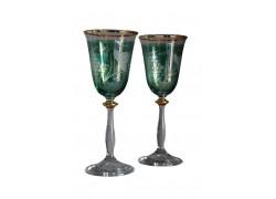 Wine glass, 2 pcs, decor grapes, 250ml, green www.sklenenevyrobky.cz