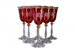 Wine glass, 6 pcs, decor flower, in red, 250ml www.sklenenevyrobky.cz