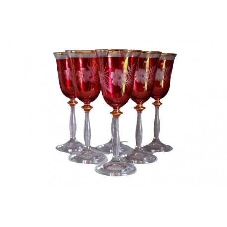 Poháre na víno, 6 ks, dekor kvetina, v červenej, 250ml www.sklenenevyrobky.cz