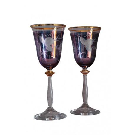 Poháre na víno, 2 ks, dekor hroznovej vína, 250ml, v modrej www.sklenenevyrobky.cz