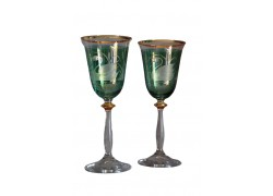 Wine glass, 2 pcs, decor swan, 250ml, green www.sklenenevyrobky.cz