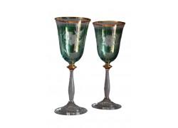 Wine glass, 2 pcs, decor flower, 250ml, green www.sklenenevyrobky.cz