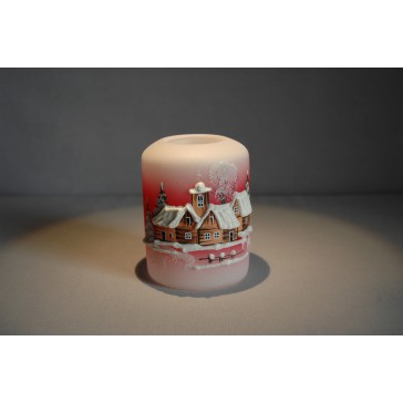 Vánoční svícen cylindr malý 7x9cm červený