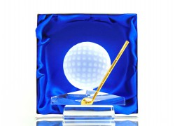 Golf ball with golf club www.sklenenevyrobky.cz