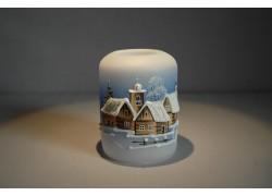 Vánoční svícen cylindr malý 7x9cm modrý