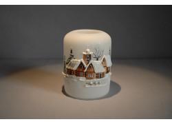 Vánoční svícen cylindr malý 7x9cm bílý