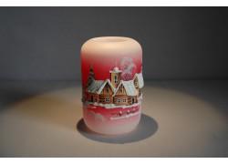 Vánoční svícen cylindr střední 7x12cm červený
