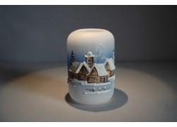 Vánoční svícen cylindr střední 7x12cm modrý