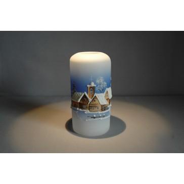 Vánoční svícen cylindr velký 7x15cm modrý