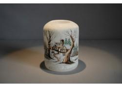 Vánoční svícen cylindr lux motiv 7x9cm bílý