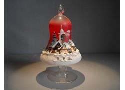 Vánoční zvon na svíčku 120mm se stojanem, červený