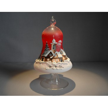Vánoční zvon na svíčku 120mm + stojan červený